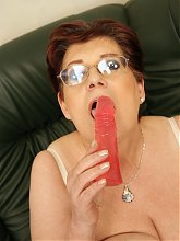 Horny housewife getting wet on her dildo