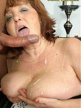 This nasty nana loves the taste of cock