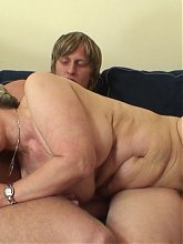 Grandma and her shaved slit look tasty as he bangs her while she's on top and in missionary