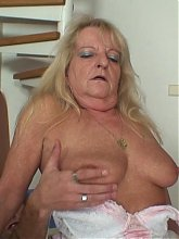 They share a few drinks and then the libidinous granny ends up sitting on his dick