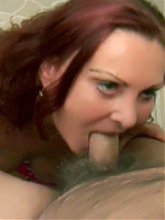 Slutty granny Blue Iris kneels down to give gramps a blowjob and gets her face jizzed live