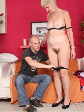 Slutty mature Irine gets naked and later rides a cock after giving it a nasty mouthfuck