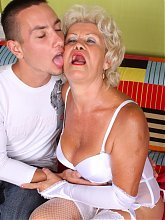 Lingerie clad mature Francesca got lucky and got her ripe cooter licked and dicked by her young hottie