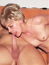 Blonde mature gal Rosalie got herself a bald hottie and welcomes his dick in her mouth and cooter live