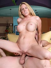 Angela Attison riding her boyfriends dick on the couch and enjoying a messy cumshot on webcam