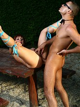 Naughty mature Myra Cave seducing and fucking a younger guy outdoors in front of a live cam audience